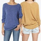 TheMogan PLUS 3/4 Sleeve Relaxed Fit Dolman Top Lightweight Knit Sweater