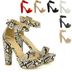WOMENS ANKLE STRAP PLATFORM LADIES CHUNKY SOLE BLOCK HEEL SANDALS SHOES SIZE