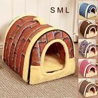 Puppy Pet Dog Cat House Nest Cave Mat Warm Sleeping Bed Cushion Travel Kennel