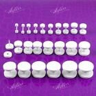 White Stainless Steel Ear Stud Flake Fake Plug Cheater Barbell Earring JewelryAY