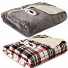 Biddeford Luxuriously Soft Velour and Sherpa Electric Heated Throw Blanket