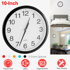 10-Inch Round Wall Clock Silent Quartz Hanging Clock Battery Operated For Home