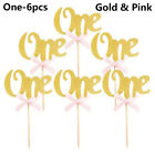 6/10X ONE 1st First Birthday Glitter Cupcake Toppers Boy Girl Party Favors Decor