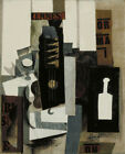 Glass, Guitar, and Bottle by Pablo Picasso Art Print Poster Museum Painting