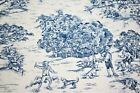 """Navy Blue 100% Cotton Rustic Toile Waverly Print 55"""" Upholstery Drapery Fabric"""