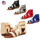 DREAM PAIRS Women Fashion Gladiator Ankle Low Wedges Open Toe Flat Sandals