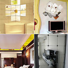 6pcs Squre Mirror Tile Wall Stickers Mosaic Room Makeup Home Decor 3d Adhesive