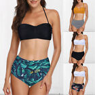 Ladies Swimsuits Retro Halter Underwired Top Push Up High Waisted Bathing Suits