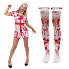 BLOODY NURSE HALLOWEEN FANCY DRESS COSTUME PLUS HAT AND BLOOD STAINED STOCKINGS