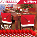 12x Christmas Chair Covers Dinner Table Santa Hat Home Decoration Ornaments Gift