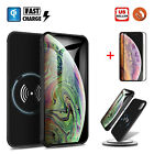 For iPhone X/XR/XS Max Qi Wireless Battery Case Charger Cover + Screen Protector
