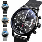 Men's Military Stainless Steel Mesh Band Chronograph Analog Date Quartz Watches image