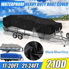 17-20Ft 21-24Ft Heavy Duty Waterproof Pontoon Boat Cover Trailerable Fish Ski US image