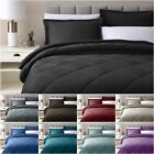 3-Piece Micromink Sherpa Solid Diamond Reversible Down Alternative Comforter Set image