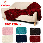 180x120cm Warm Hand Chunky Knitted Blanket Thick Yarn Wool Sofa Bed Spread Throw image