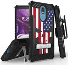 Rugged Tri-Shield Case + Belt Clip for LG Harmony 3/Solo/K40 - Patriotic Series