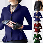Women Ladies Knit Tunic Blouse Long Sleeve V Neck Button Down T Shirts Warm Tops