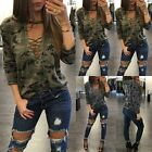 1x Fashion Women Lace Up Camouflage Long Sleeve Casual Blouse Tops Loose T-Shirt