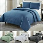 Chezmoi Collection Auburn 3-Piece Modern Quilted Solid Bedspread Coverlet Set image