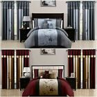 Chezmoi Collection Vienna 7-Piece Floral Embroidery Comforter Set or Curtain Set image