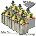 Set of 6 Reusable Grocery Bags Durable Heavy Duty Tote Collapsible Shopping Box