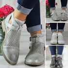 Womens Low Heel Ankle Boots Ladies Hollow Out Booties Work Casual Chelsea Shoes