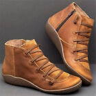 US Women's Arch Support Boots Zipper Ankle Boots Lace Up Casual Flat Shoes Boots