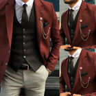 Red Brown Men's Suits Business Formal Working Wedding Prom Black Vest Custom 3PC