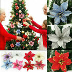 8 Glitter Christmas Flowers Artificial Poinsettia Wedding Party Xmas Tree Decor