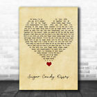 Sugar Candy Kisses Vintage Heart Song Lyric Quote Music Print