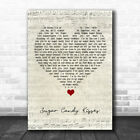 Sugar Candy Kisses Script Heart Song Lyric Quote Music Print