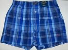 POLO RALPH LAUREN Men's Cotton Classic Fit Plaid Boxer, Underwear, Blue, NWT
