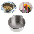 Hanging Bowl Feeding Cage Cup Pet Dog Bird Parrot Food Water Stainless Steel CY1