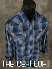 Mens WESTERN HERITAGE Snap-Up Shirt New Navy Blue Thin Turquoise Plaid 45