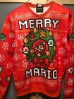NWT Super Mario Bros Merry Christmas Red Ugly Sweater Sweatshirt  Small Medium