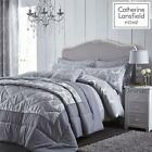 Catherine Lansfield Damask Jacquard Grey & Silver Luxury Bedding Quilt Set