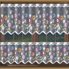 White Kitchen Cafe Net Curtain Flowery Meadow Width Sold By Metres Ready To Hang