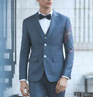 Blue Men's Wedding Suits Striped Groom Business Best Man Two Button Formal Party