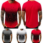 Fashion Men Fitted Gradient Color Short Sleeve Tops Blouse Basic Tees Pullovers