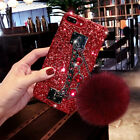 Sparkly Diamond Glitter Case Cover w/ Plush Ball Strap For iPhone and Samsung $10.25 USD on eBay