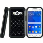 For Samsung Galaxy Ace 4 Hybrid Studded Diamond Dual Layer Shockproof Case