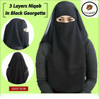 Kyпить New Indian Nikab Female Hijab Muslim Veil Face Cover Islamic Hijab 3-layer на еВаy.соm