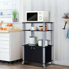 Microwave Cart for Kitchen Bakers Rack with Storage Shelves 2-Door Rolling Stand