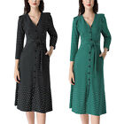 Women Ruffle Button Pockets Polka Dot Work Busines Party Flare A-Line Midi Dress