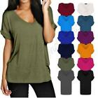 Women Baggy Oversized Loose Fit Turn up Batwing Sleeve Ladies V Neck Top T shirt