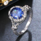 Gorgeous 925 Silver Rings Women Jewelry Blue Sapphire Wedding Ring Size 6-10