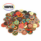 100Pcs/lot Flower Picture Wood Button 2Holes Mixed Color Apparel Sewing DIY Gift