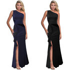 Womens One Shoulder Ruched Ruffle Split Formal Evening Party Mermaid Maxi Dress
