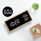 Wood Digital LED Alarm Clock Humidity Temperature Display Room Decor Table Watch