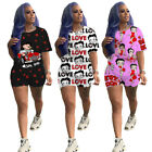 Woman Suit Lovely Cartoon Letter Printed Short Sleeve Casual T-shirt Short Pant